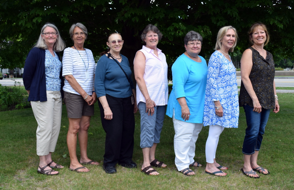 The Wells-Ogunquit Community School District recently recognized teachers and staff who are retiring, including Roberta Jones, left, Ingrid Roach, Jane Garnsey, Carolyn Vail, Gigi Roberts-Maher, Susan Condon and Michele Guerrette.