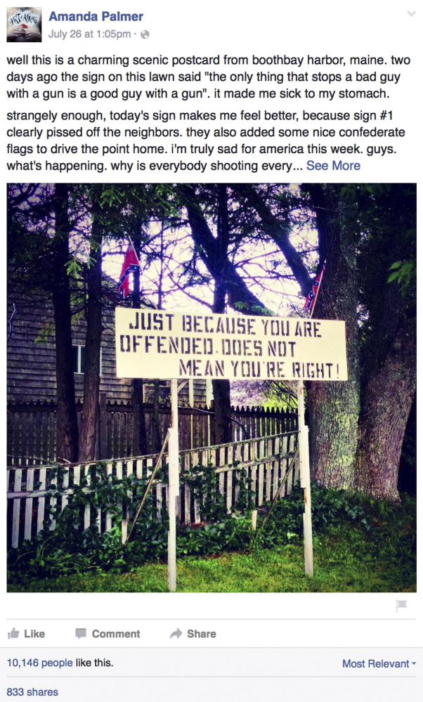 Amanda Palmer photographed this Linc Sample sign while vacationing in Maine and posted it on her Facebook page.