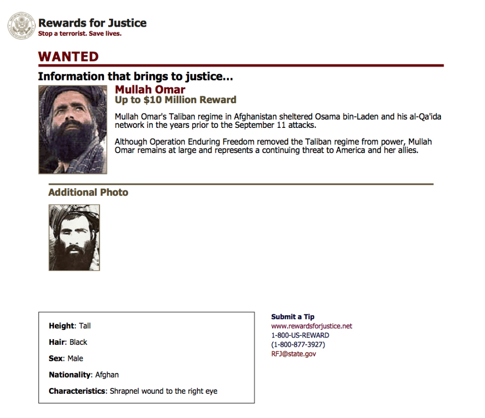 FILE - In this undated image released by the FBI, Mullah Omar is seen in a wanted poster. An Afghan official says his government is examining claims that reclusive Taliban leader Mullah Omar is dead. The Taliban could not be immediately reached for comment on the government's claims about Omar, who has been declared dead many times before.  (FBI via AP, File)