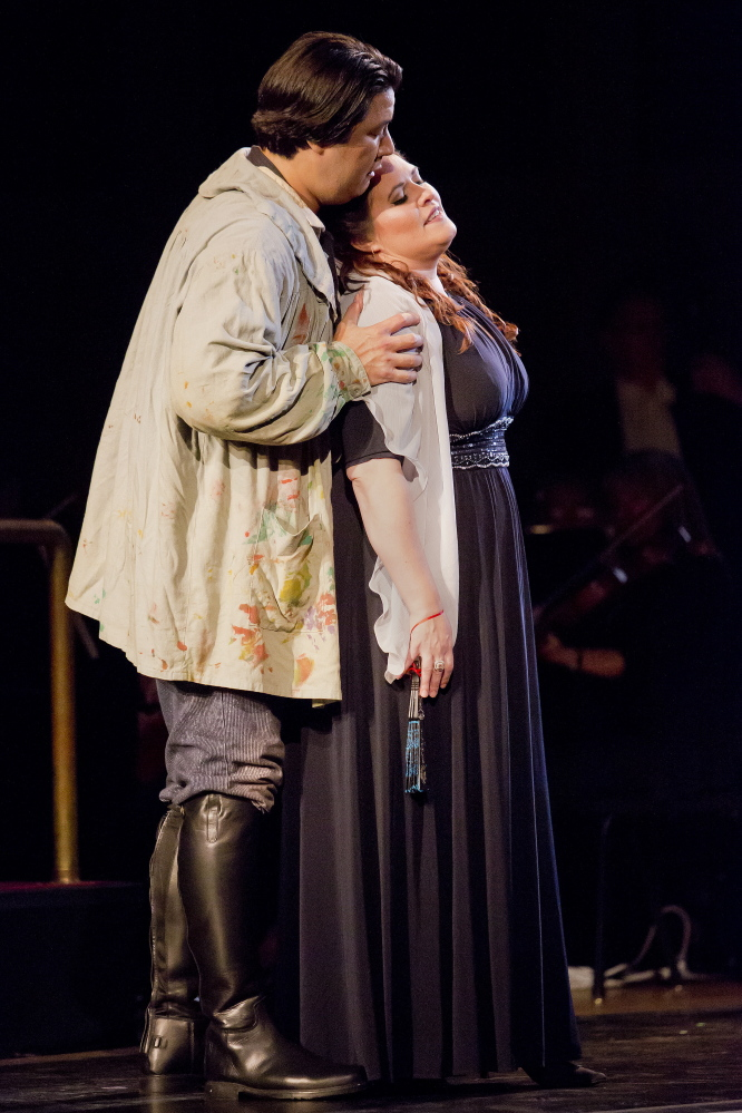 Adam Diegel as Cavaradossi and Alexandra LoBianco as Tosca perform during a dress rehearsal. Gabe Souza/Staff Photographer