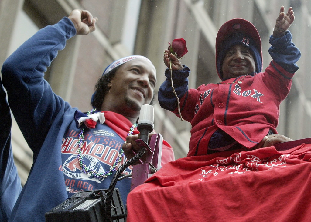 Yes, it was a parade to honor the 2004 World Series champion, and Pedro Martinez took a place of honor along with friend Nelson de la Rosa. Reuters/Jessica Rinaldi