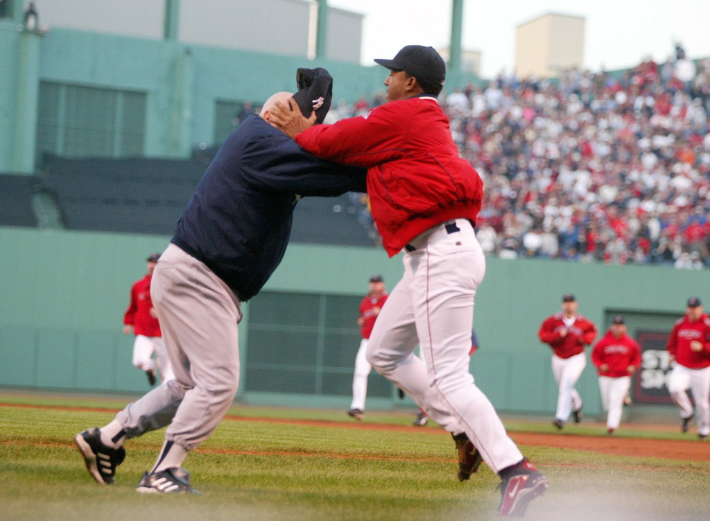 He was a fighter, but this incident wasn't how we usually saw Pedro Martinez battle. He threw Don Zimmer to the ground during a tussle on Oct. 11, 2003, when the Yankees beat the Red Sox 4-3. Paul J. Bereswill/Newsday