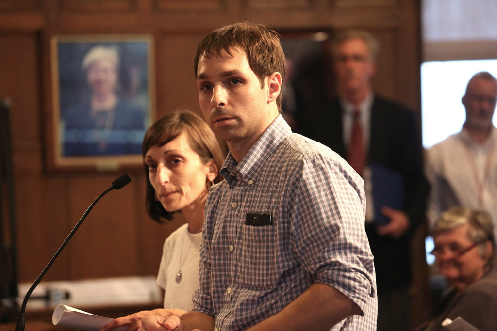 Nancy Shaw and Justin Olsen of the New England Cannabis Farmers Market answer city councilors' questions about the proposed market during a hearing at Portland City Hall on Monday. The council voted 5-4 not to allow the market.