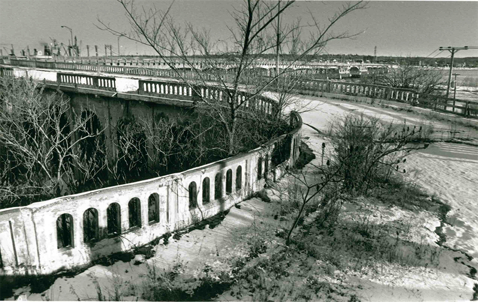 Flashback: a photograph from the Press Herald's print archives shows the then-abandoned York Street ramp to the old Million Dollar Bridge between Portland and South Portland in January 1991.