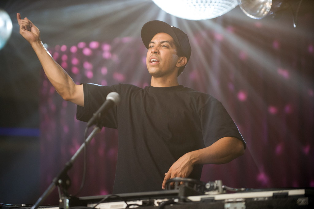 "This photo provided by Universal Pictures shows, Neil Brown, Jr., as DJ Yella, in a scene from the film, ""Straight Outta Compton."
