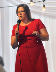 Emily Cain, of Orono, addresses Democrats at the Muskie Lobster Bake in Freeport. Andy Molloy/Staff Photographer