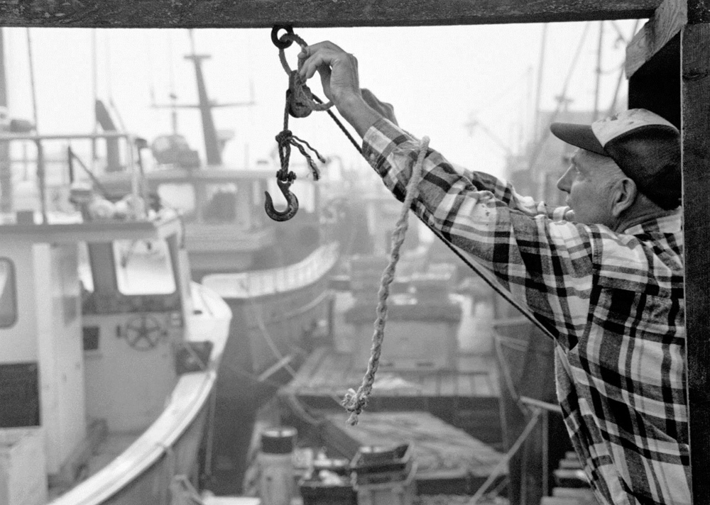 Lobsterman Leland Merrill in a photograph by Dave Wade at Cia Cafe.