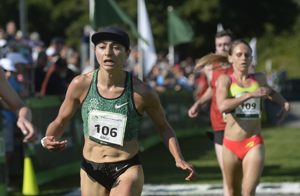 Alexi Pappas is the first American woman to cross the finish line of Saturday's TD Beach to Beacon 10K.