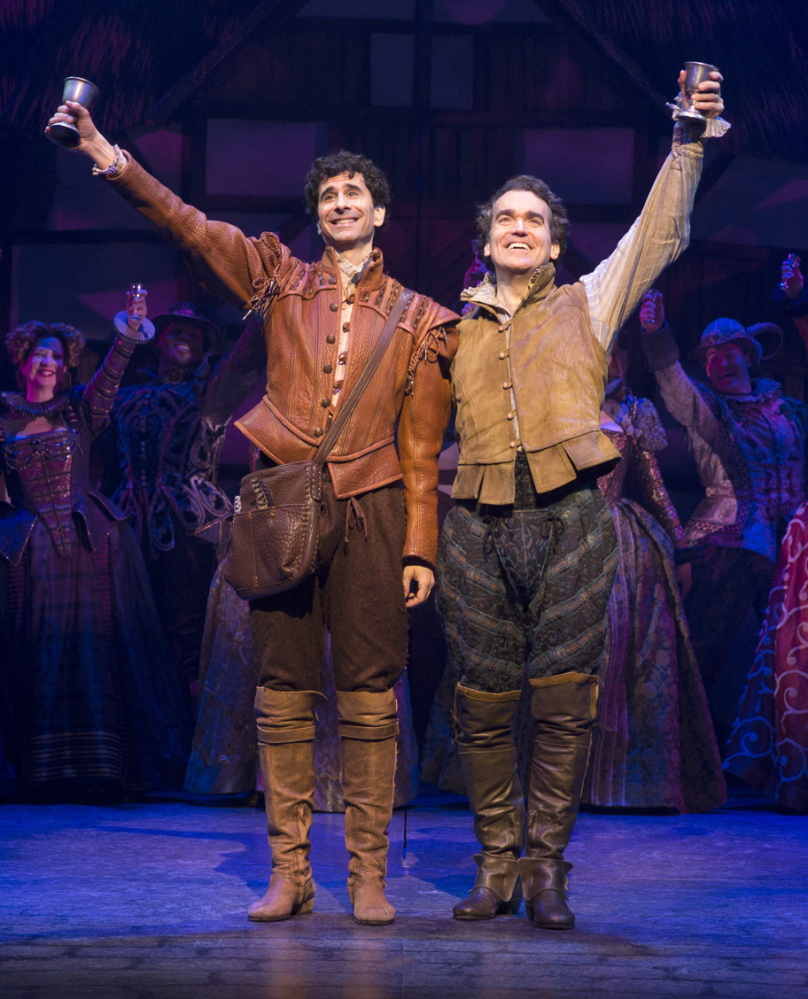 "John Cariani, left, and Brian d'Arcy James portray a playwright and producer who see William Shakespeare as a rival, in the Broadway musical ""Something Rotten!"""