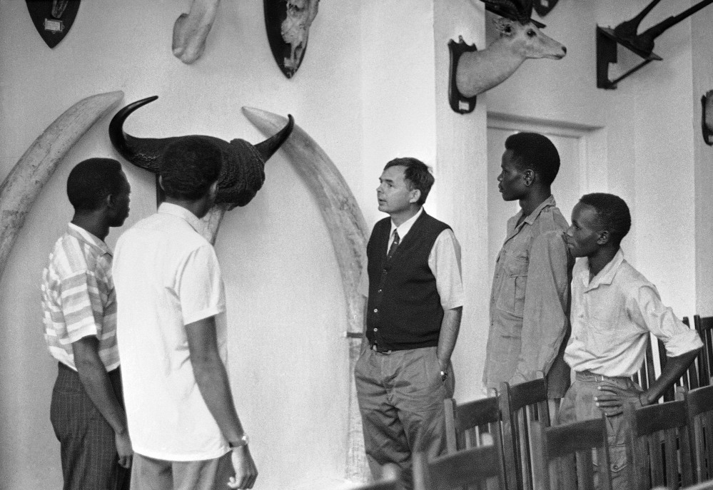 With his father's trophies decorating the wall, Patrick Hemingway, third right, teaches future game wardens to conserve the big game that Ernest Hemingway pursued with passion on land and on sea when not writing famous novels or carousing in the hot spots of Key West, Fla., and Havana, Cuba.