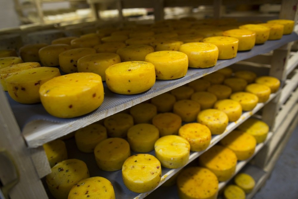 Heads of cheese are stored at John Kopiski's farm in Krutovo, Russia. Russia is marking the one-year anniversary of its ban on Western  agricultural products.