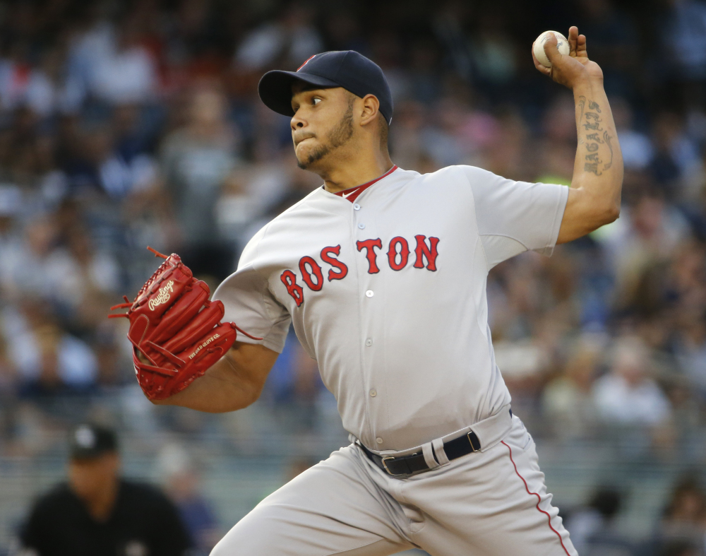 Red Sox starter Eduardo Rodriguez pitches in the first inning Thursday night against the New York Yankees. He got little support from Boston's bats in a 2-1 loss.