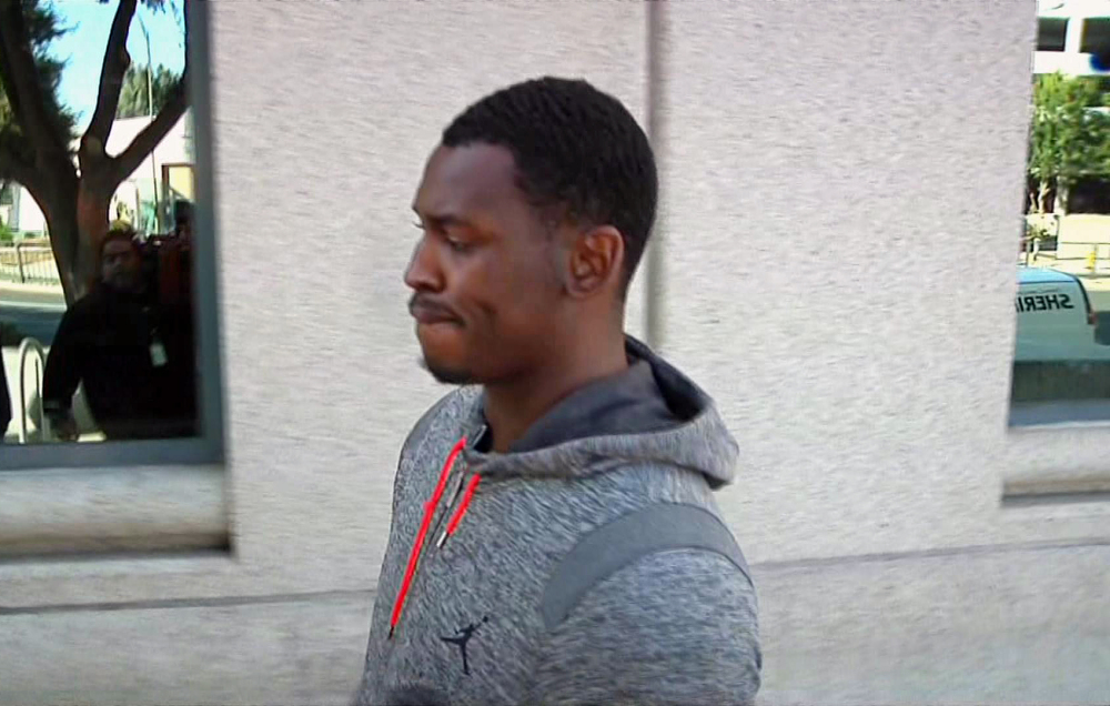 This image made from video shows San Francisco 49ers Aldon Smith after being released from the Santa Clara County Jail on Friday in San Jose, Calif.