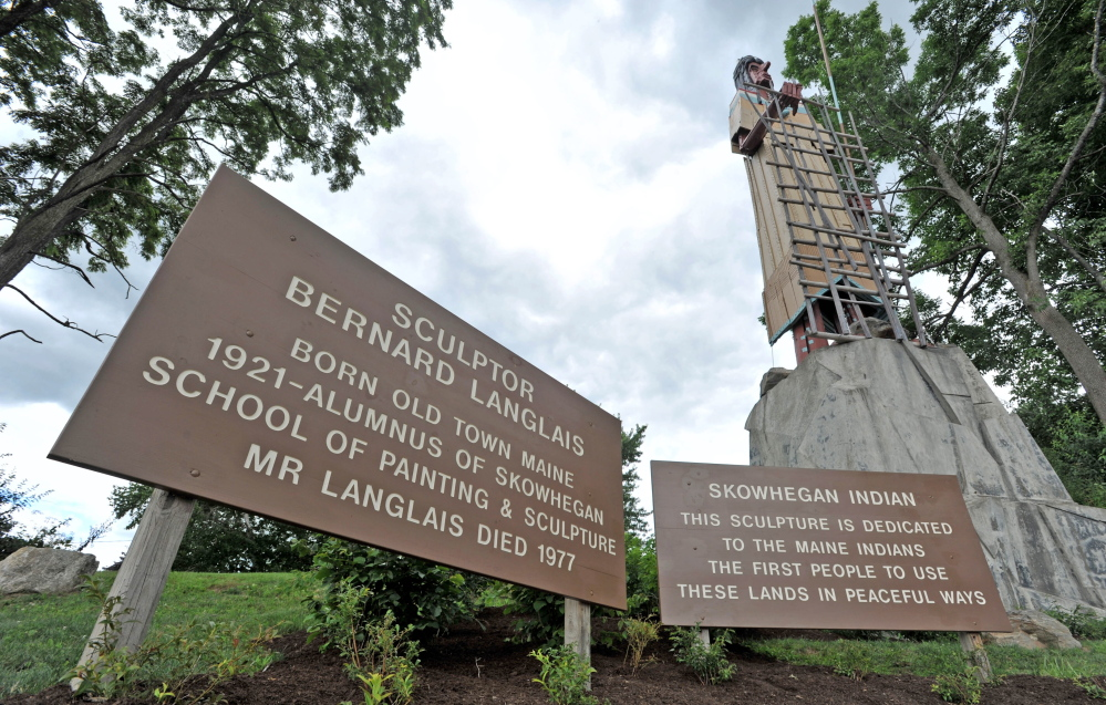Langlais Park in Skowhegan, at the base of the Bernard Langlais Indian sculpture, will be dedicated in a ceremony Saturday. Skowhegan police are investigating an online threat calling for the sculpture to be burned down.