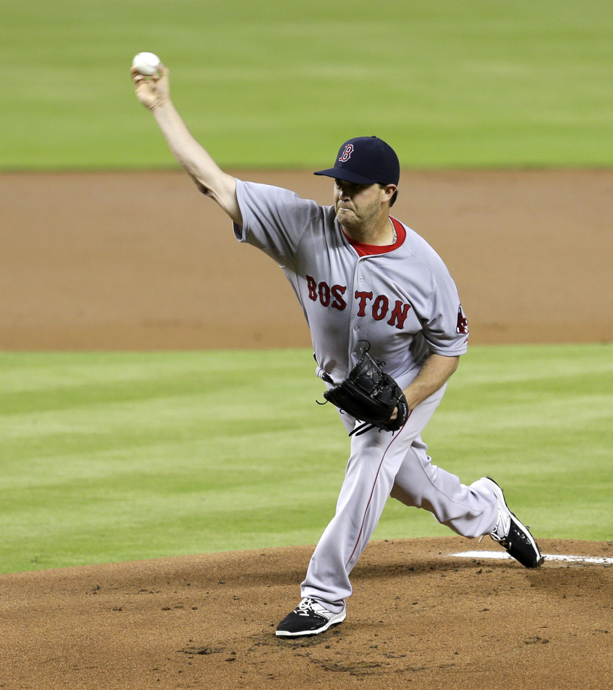 Red Sox starter Steven Wright pitched well enough to win Tuesday night against the Miami Marlins, allowing two runs and five hits before leaving in the sixth inning with a 4-0 lead.