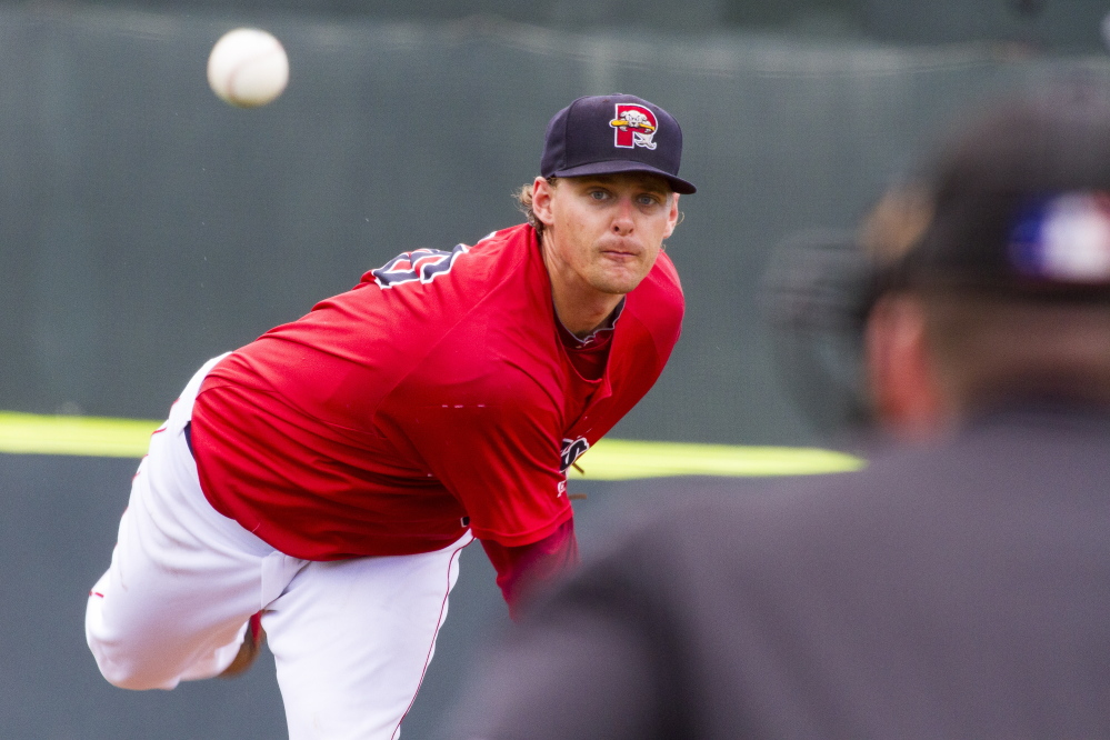Sea Dogs pitcher Justin Haley throws a pitch against the Erie SeaWolves.