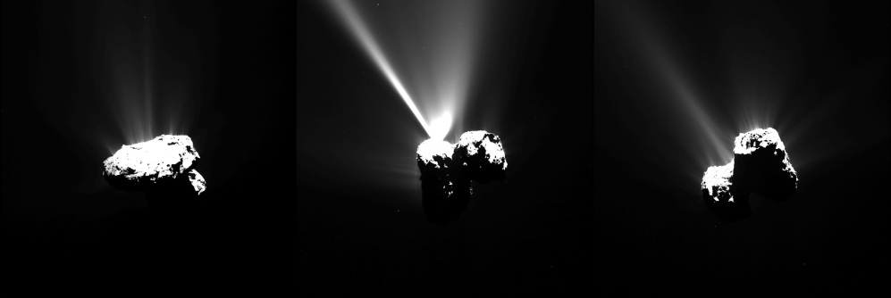 This series of images of Comet 67P/Churyumov-Gerasimenko, provided by the European Space Agency, was captured by Rosetta's narrow-angle camera Wednesday, just a few hours before the comet reached the closest point to the sun along its 6.5-year orbit. Scientists say they still hope to hear more from the European spacecraft that touched down on the comet last year. The Associated Press