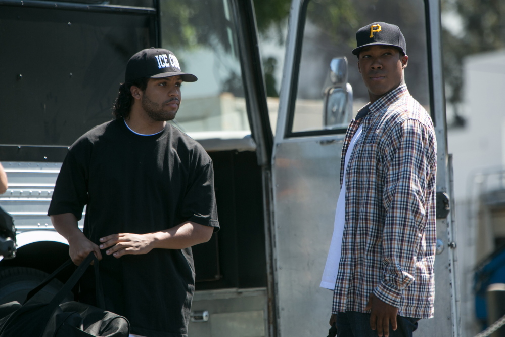 "O'Shea Jackson Jr., left, as Ice Cube and Corey Hawkins as Dr. Dre in ""Straight Outta Compton,"" which follows the emergence in the 1980s of the pioneering rap group N.W.A."