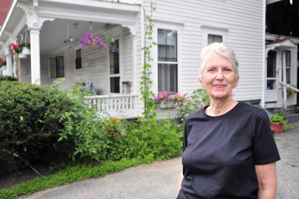 Shelia Stratton talks about the historic Augusta home she lives in with husband Don Stratton in this July 29 photo.