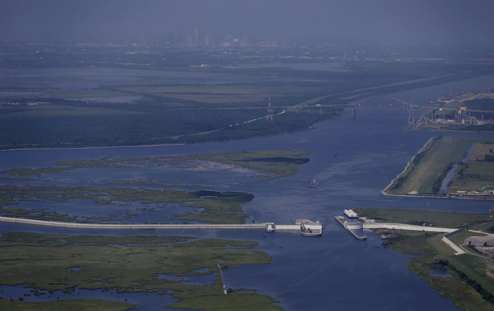 The Lake Borne storm surge barrier in St. Bernard Parish, La., was built after Hurricane Katrina. As unprotected areas outside New Orleans lose land to erosion, the buffer disappears and New Orleans itself becomes more vulnerable.