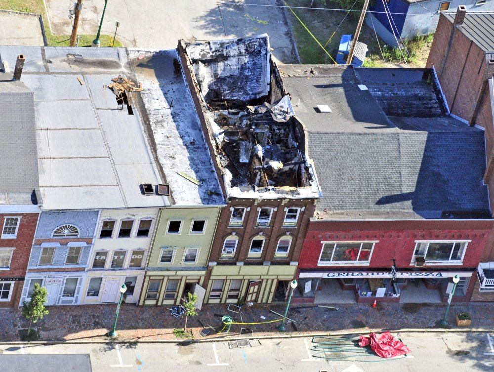 Aerial photo shows the scene on the morning after the July 16 fire in downtown Gardiner.