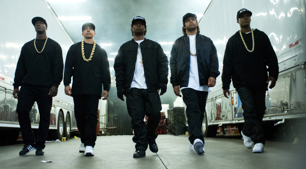 "From left are Aldis Hodge as MC Ren, Neil Brown Jr. as DJ Yella, Jason Mitchell as Eazy-E, O'Shea Jackson Jr. as Ice Cube and Corey Hawkins as Dr. Dre, in ""Straight Outta Compton."""