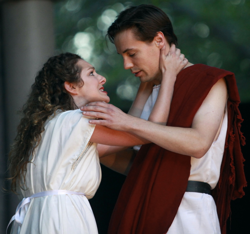 "MaineStage Shakespeare's production of ""Julius Caesar"" in Kennebunk features Samantha Cooper as Portia and Aidan Eastwood in the role of Brutus."