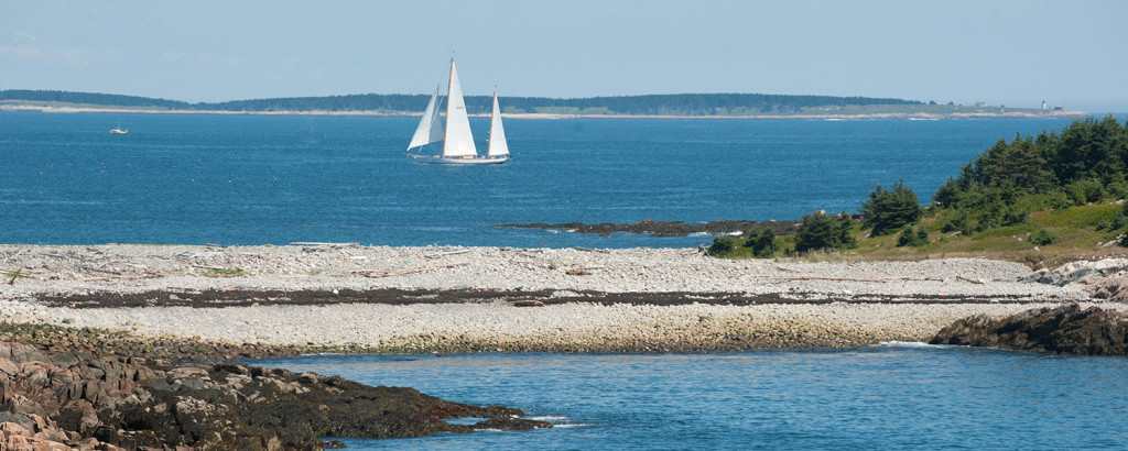 A sailboat cruises near East Cove off of  the Maine Coast Heritage Trust's Frenchboro Preserve. One of the planned campsites will be located to the left in this image with a view of both Great Duck Island and Mount Desert Island.