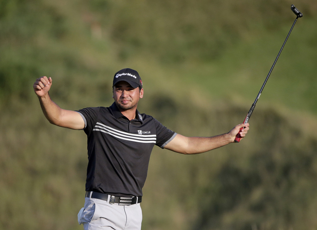 Jason Day, of Australia, celebrates after winning the PGA Championship golf tournament Sunday, at Whistling Straits in Haven, Wis. The Associated Press