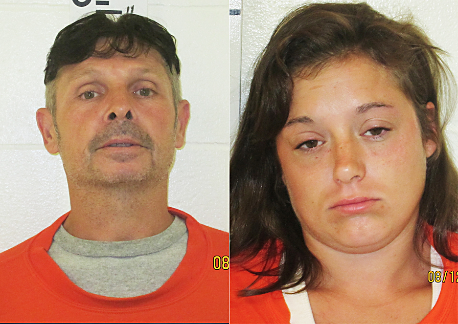 Nelson Cooper, 52, of Saco, (left) and Jerri Souliere, 27, of Waterboro, arrested in Arundel. Photo courtesy of York County Sheriff's Office