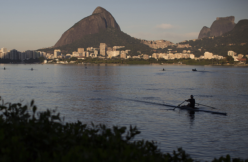 A man rows in the Rodrigo de Freitas Lake in Rio de Janeiro. The water was thought to be safe for rowers and canoers but tests have shown it to be among the most polluted for Olympic sites.
