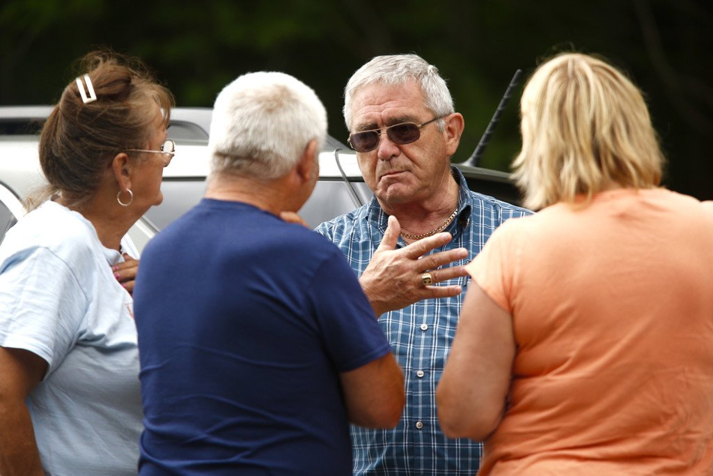 Richard Moreau talks with supporters in Canton, where Maine law officials were searching for his daughter, Kimberly Moreau, who has been missing since 1986.  Carl D. Walsh/Staff Photographer