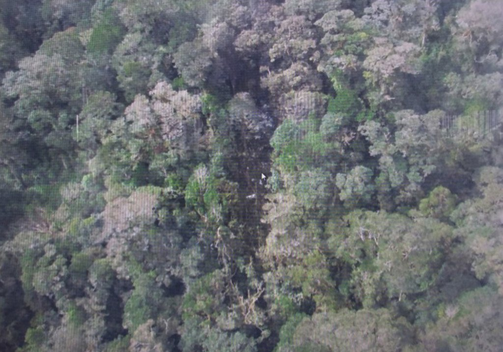 This photo released by the National Search and Rescue Agency (BASARNAS) of Indonesia Monday shows the part of the wreckage that BASARNAS identified as of the missing Trigana Air Service flight that crashed in Oksibil, Papua, Indonesia. The Associated Press/The National Search and Rescue Agency of Indonesia
