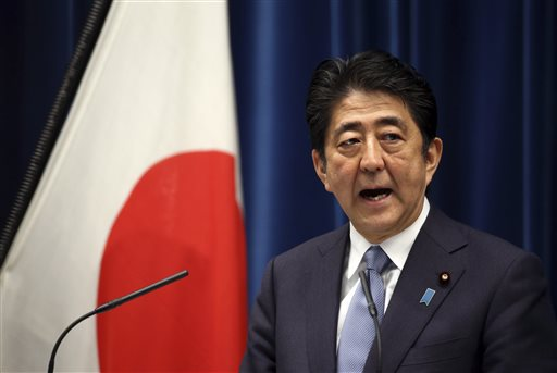 Japanese Prime Minister Shinzo Abe delivers a statement to mark the 70th anniversary of the end of World War II at his official residence in Tokyo Friday. The Associated Press