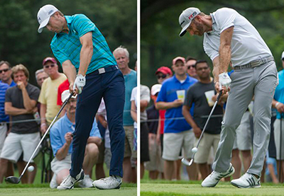 The focus at the PGA Championship starts with the two players who have attracted the most attention in majors this year – Jordan Spieth, left, because he is winning them, Dustin Johnson, right, because he is not. The Associated Press