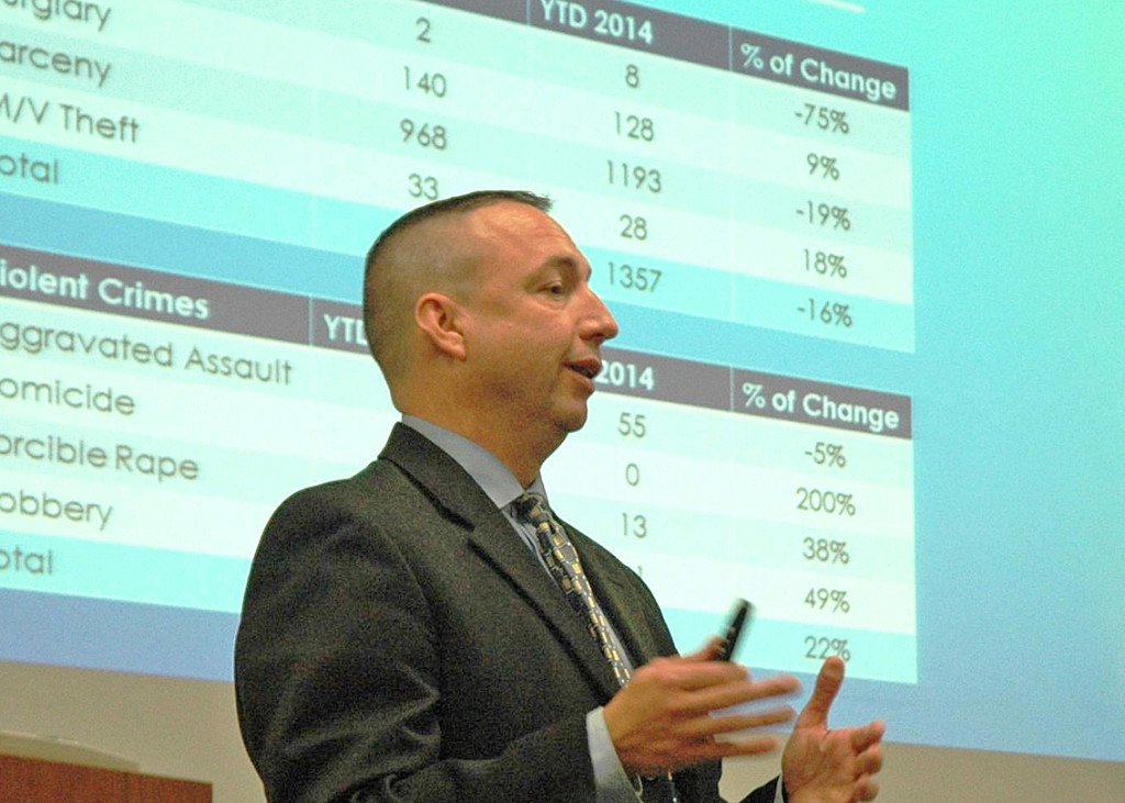 Portland Police Chief Michael Sauschuck makes a presentation at Wednesday's summit on the crisis in opioid use. Photo courtesy Maine Department of Public Safety
