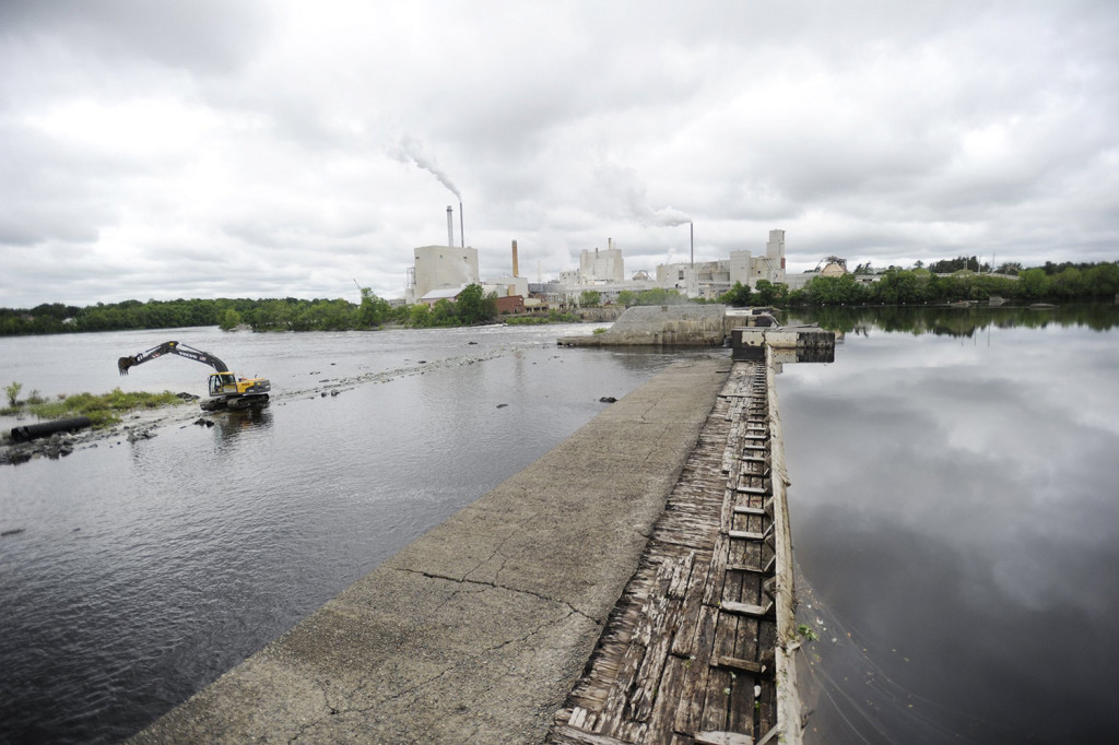 In this 2012 filre photo, Great Works Dam on the Penobscot River is prepared for removal by a crew from R.F. Jordan and Sons Construction Inc. They were building an access road to the Dam. Shawn Patrick Ouellette/Staff Photographer