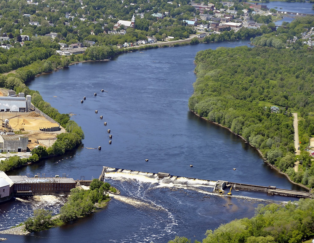 In this file 2012 file photo, Great Works Dam removal started with ceremony lead by Penobscot Nation. This is the dam in Old Town on the Penobscot River. Gordon Chibroski / Staff Photographer
