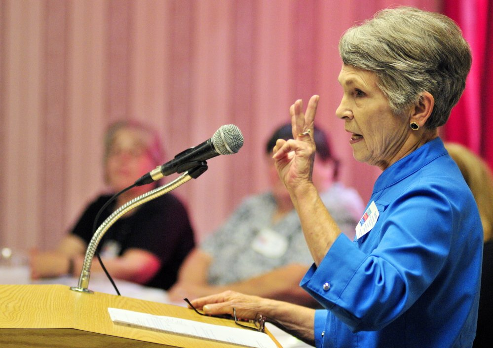 Sandra Wright describes the Mount Vernon Community Partnership's Neighbors Driving Neighbors Program during the summit on aging Tuesday at the Augusta Civic Center.