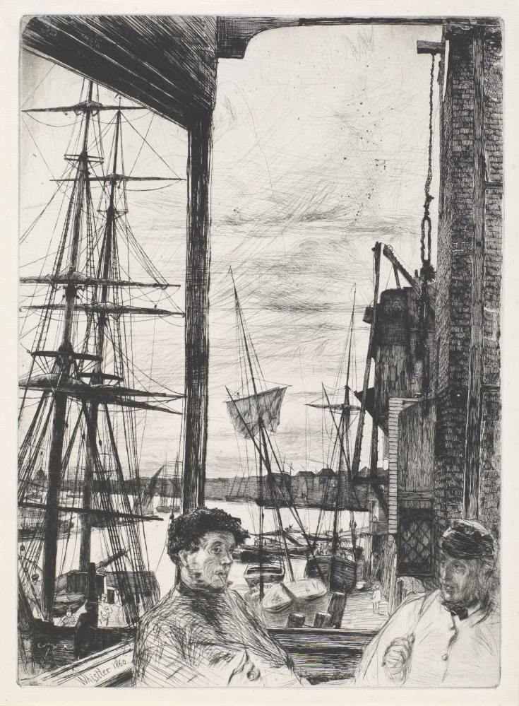 """""""Rotherhithe,"""" 1860 Etching and drypoint in black ink on off-white paper; sixth (final) state 117/16 x 87/16 in. Left: """"A White Note,"""" 1862 Oil on canvas 14  x 12  in. Far left: """"Nocturne,"""" 1879–80 Etching and drypoint in brown ink on ivory laid paper 83/16 x 11  in."""