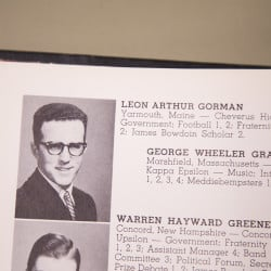 BRUNSWICK, ME - SEPTEMBER 2: A photo of a page from Leon Gorman's yearbook photo in the 1956 Bowdoin Bugle on Wednesday, September 2, 2015. (Photo by Yoon S. Byun/Staff Photographer)