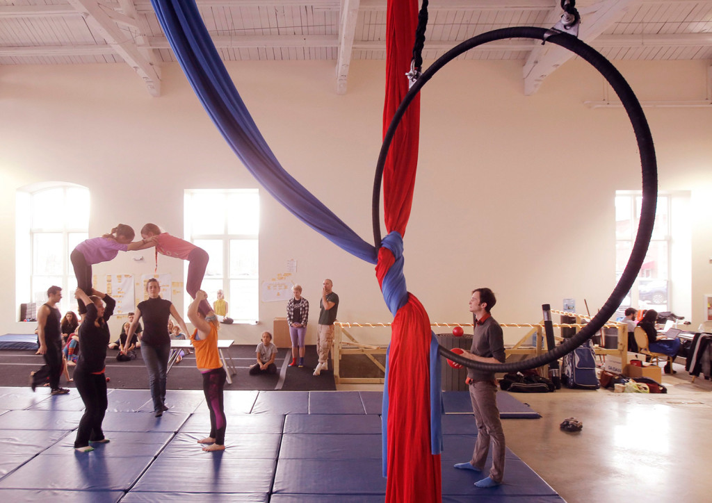 Performers with the Circus Conservatory of America rehearse for a show in April at the conservatory's home on Thompson's Point in Portland. The conservatory now plans to leave the leased space. Gregory Rec/Staff Photographer