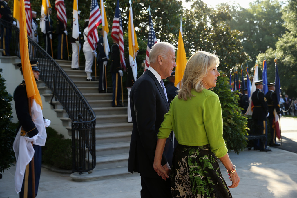 Vice President Joe Biden and his wife Jill await the arrival of Pope Francis, Wednesday on the South Lawn of the White House in Washington. The Associated Press