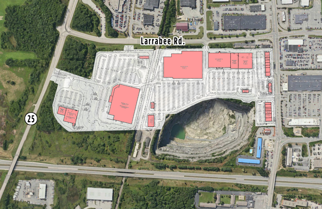 The site plan for a proposed shopping center near the intersection of Larrabee Road and Main Street in Westbrook. Jeffrey Gove says he plans to build 500,000 square feet of retail space on property that is now a gravel pit operated by Pike Industries.