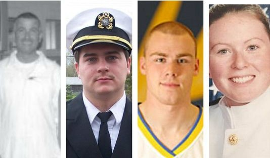 Pictured from left are Capt. Michael Davidson from Windham and Maine Maritime Academy graduates Michael Holland of Wilton, and Danielle Randolph and Dylan Meklin, both of Rockland. Not shown is  Mitchell Kuflik, 26, of Brooklyn, New York, another graduate of Maine Maritime Academy who died on the El Faro. WCSH photo