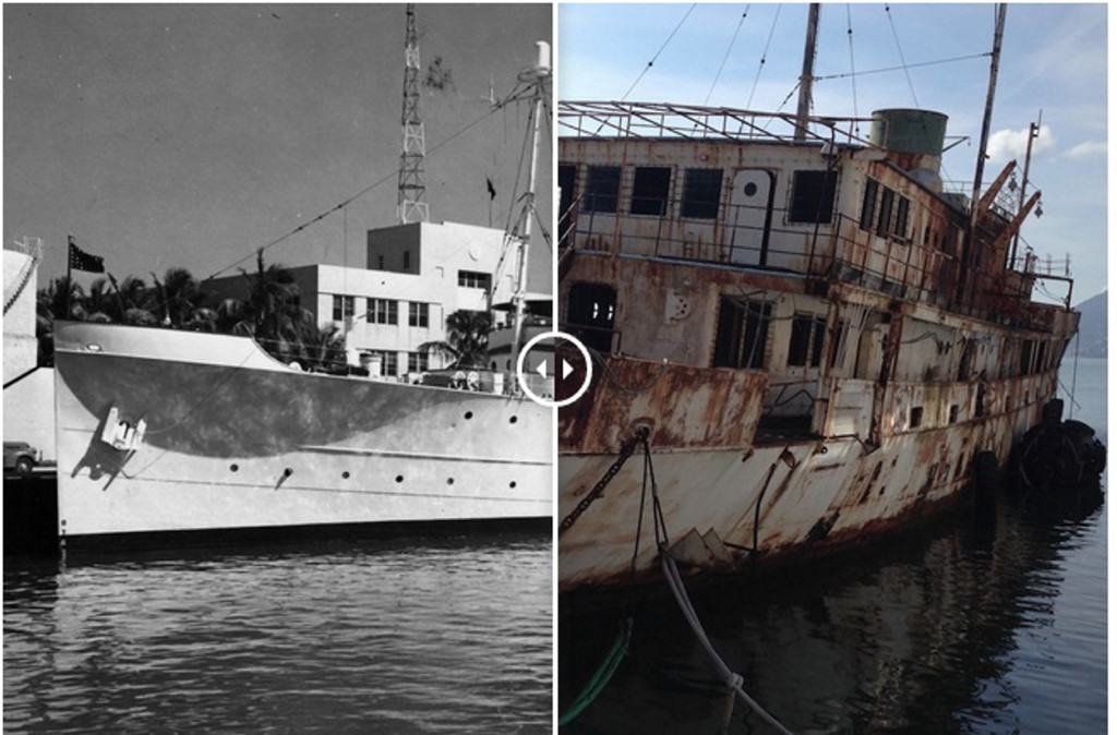 The Maine-built USS Williamsburg served as the floating White House during the 1940s and 1950s, but has long been decommissioned, right, and restoring it should not be a matter of national urgency, according to writer David Bailey. Screenshot from pressherald.com