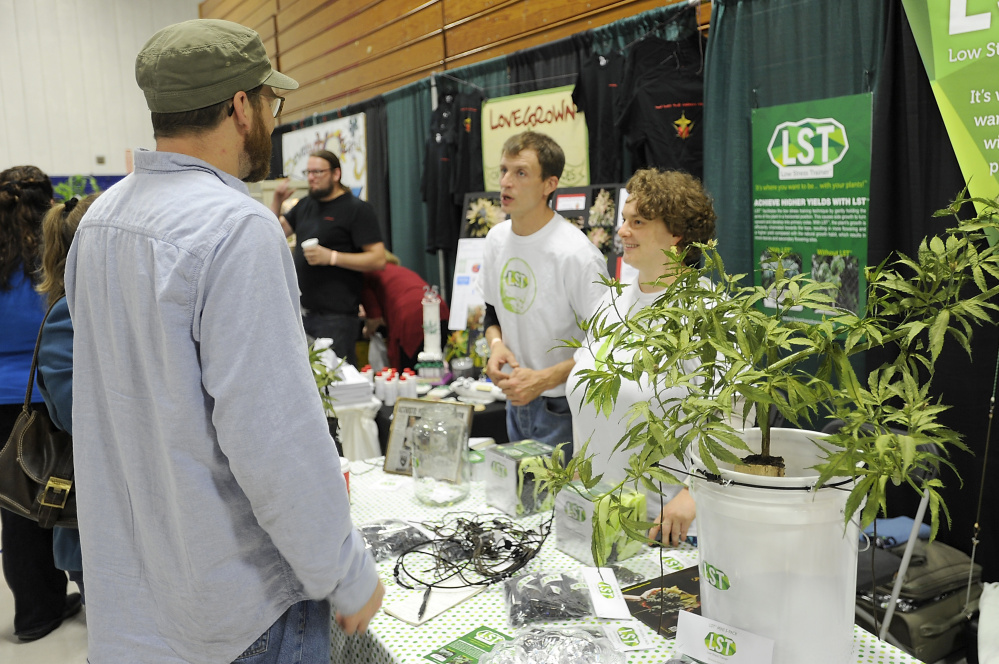 Joe Piskala and Julie Shaw, owners of Low Stress Training Products, right, discuss their product that helps with pruning the marijuana plant, with Maci and Michael Libby of Windham, caretakers and growers for the past six years, at the Portland Cannabis Convention. Gordon Chibroski/Staff Photographer