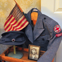 AUGUSTA, ME - NOV. 11: Diana Marvin Gibson's World War II Red Cross uniform is on display during a Veterans Day event on Wednesday Nov. 11, 2015 at Vaughan Homestead Foundation in Hallowell. (Photo by Joe Phelan/Staff Photographer)