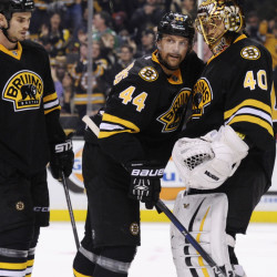 Boston Bruins defenseman Dennis Seidenberg, center, who came back from injury to play a full season in 2014-15, is again starting anew – this time after back surgery.
