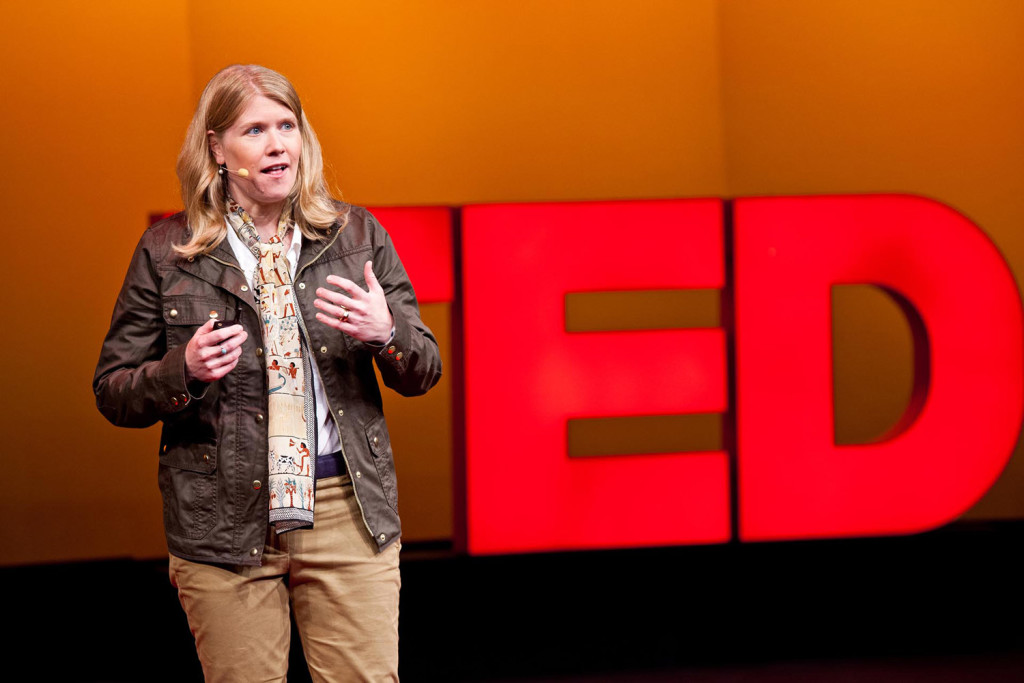 Sarah Parcak speaks during the Fellows talks at the 2012 TED Conference in Long Beach, Calif. Parcak, who grew up in Bangor and is an anthropology professor at the University of Alabama in Birmingham, won the 2016 TED Prize.